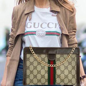 Gucci Web GG monogram clutch crossbody bag.